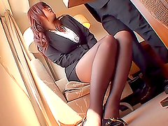 Beautiful Japanese Ramu Hoshino Blowjobs and Titjobs in Formal Outfit