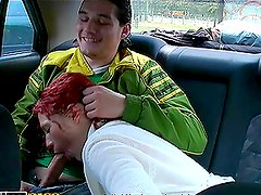 Redhead Blowjobs in the Car and Gets Fucked Hard Outdoors