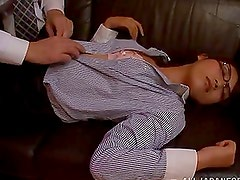 Hot Japanese office girl sucks a cock and gets fingered