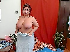 Big Chubby Mature with Huge Boobs Getting Drilled for Facial