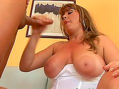 Busty Blonde MILF with Big Nipples Showing a Hard Cock a Good Time