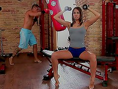 chick has her asshole fucked in the gym