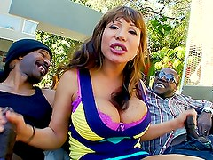 Busty Pornstar Ava Devine Loving the Double Big Black Cock Banging