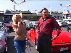 Big tittied blonde chick getting fucked on the car