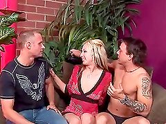 Crazy Pegging Action in MMF Threesome with Strapon-Clad Blonde Zoe Matthews