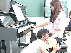 Horny Japanese pianist sucks dicks and gets toyed