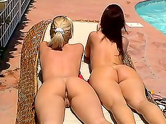 Two Hot Broads Showing Off Her Bodies Outdoors