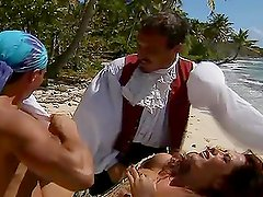 Curly babe gets fucked by two guys on uninhabited island