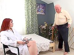 Sizzling red haired therapist fucks this grandpa