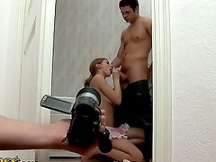 Hardcore Action in Bathroom MMF Threesome with Sensual Blonde Beauty