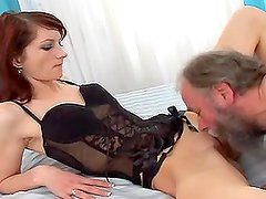 Cindy the naughty bitch gets fucked by dirty old man