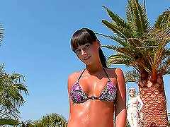 Enchanting European Brunette Fools Around By The Pool