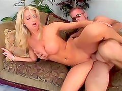 Adorable blonde chick with big boobs get fucked and jizzed on