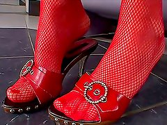 Bitch In Red Fishnet Stockings Shows Off Her Feet