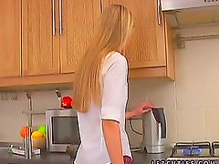 Teen Lesbian Sex In The Kitchen With Strapon