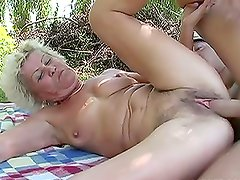 Old Couple Having Sex Outdoors