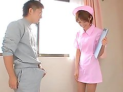 Japanese nurse Mio Oichi gets her hairy pussy fingered and fucked