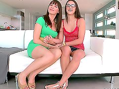 Mother and step daughter combo ride big dick and lick each other