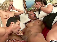 Two bisexual dudes and two horny babes are having  sex