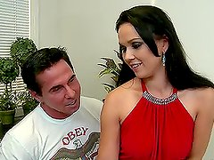 Ally Style the pretty brunette sucking and fucking in the office