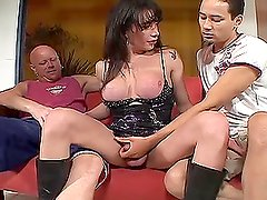 naughty brunette shemale get fucked by two guys