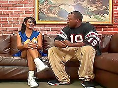 Amazing video of Nyla Danae fucking with a guy on a sofa