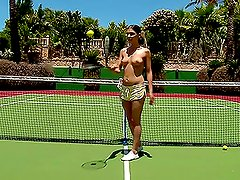 Hot brown-hared girl masturbates after playing tennis