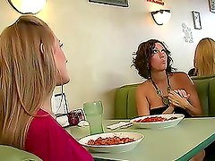 Abby Rode and Dylan Ryder seduce a waiter and share his cock