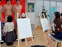 Female Art Students suck cocks of their male models