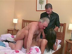 Busty brunette babe Zarina gives hot blowjobs and gets fucked by two