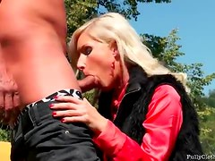 Satin blouse on suck and fuck girl outdoors