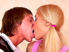 Sweet blonde Candy gives her boyfriend a blowjob and gets fucked by him
