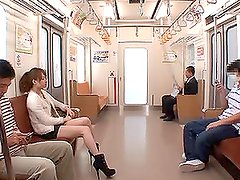 Asian babe Akiho Yoshizawa fucks a few strangers in a train