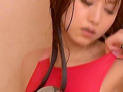 Akiho Yoshizawa performs a hot masturbation in shower!