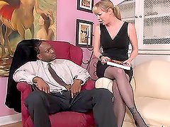 Sexy Adrianna Nicole getting fucked by her Black stepfather