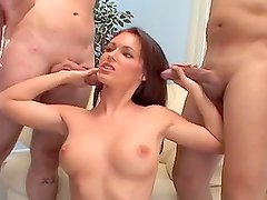 Beautiful babe gets facialized by four cocks