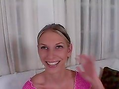 Slim blond babe in pink gets her ass slapped hard