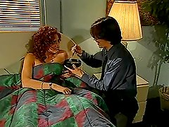 Hot curly redhead girl getting fucked in the bedroom