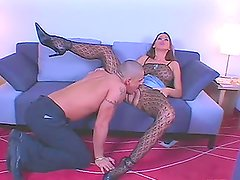 Lisa Sparkle gets her pussy fucked through the hole in her bodystocking