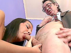 Busty brunette babe Jenny rides that old fart