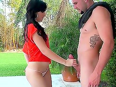 Hot brunette gives such a perfect blowjob to her fella