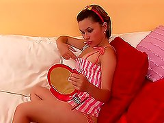 A hot slut Adeline shaves her tight pussy and sexy legs