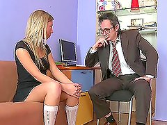 Leggy blond babe Yana gives her teacher a deepthroat