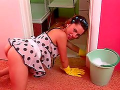 Hot Adeline is having fun while cleaning her house