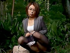 Japanese teacher gets her pussy licked and fingered outdoors