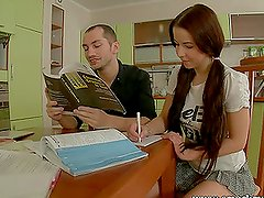Argentina the slutty teen fucks a guy instead of doing the homework
