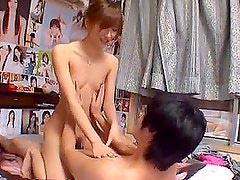 Chika Eiro sucks a cock in the bathroom and gets fucked in missionary position