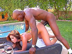 Sexy babe Gisselle Leon rides a big black cock and moans of pleasure