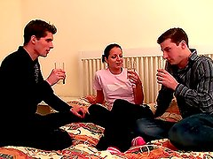 Audrey & her bf meet a guy and they go for a threesome