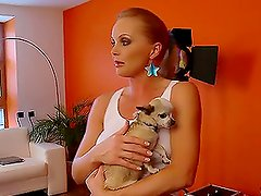 Silvia Saint takes photos of Stacy Silver and fondles her